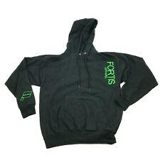 Fortis Black Hoodie Sweatshirt Men's Size Medium Green Hooded Sweater Pullover