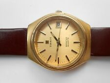 RARE VINTAGE SWISS MADE TISSOT SEASTAR DATE GOLD PLATED MENS QUARTZ WRISTWATCH