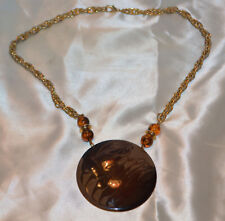 Gold Tone Metal Chain & Disk Enameled with Brown Swirls Necklace