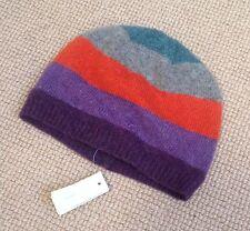 monsoon hat, 1-3y, wool knitted beanie, orange, purple, striped NEW
