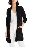 J.CREW NWT $98 Open Front Linen Blend Cardigan Sweater Top in Black Size XS