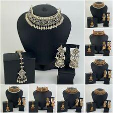 Choker Necklace Set Indian Bridal Jewellery Jhumki Earrings & Tikka Bollywood