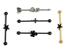 Set of 5 industrial scaffold bars,38mm Skull Cross dragon star black gold silver
