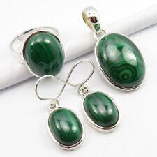 Pendant Ring #7 Set 19.2 Gram 925 Pure Silver Authentic Green Malachite Earrings