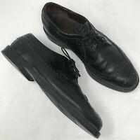 Mens Vintage Dexter Black Leather Oxfords Size 11.5 Brogue Wingtip Lace Up Shoe