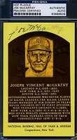 Joe Mccarthy Signed Psa/dna Cert Gold Hof Plaque Authentic Autograph