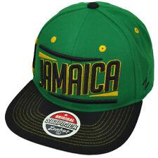 93e163aa443d74 Zephyr Victory Jamaica Country Flag Green Black Flat Bill Snapback Hat Cap
