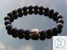 Buddha Black Onyx Matte Natural Gemstone Bracelet 7-8'' Elasticated Healing Ston