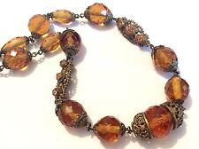 Antiguo Checo Facetado amber-coloured Glass & presionado Metal Dorado Collar