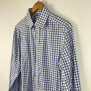 Charles Tyrwhitt Mens Button Up Shirt 41 White Lattice Long Sleeve Collared Slim