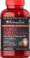 Puritan's Pride Triple Omega 3-6-9 Fish, Flax, and Borage Oils, Omega Fatty 240