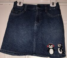 Gymboree WINTER PENGUIN Blue Denim Jean Skirt Girls Size 9 Adjustable Waist