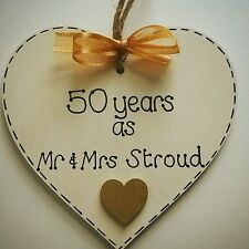 50th golden personalised wedding anniversary gift  handmade wooden heart
