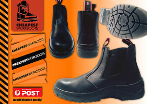 WORK BOOTS Steel Cap Toe SAFETY  Slip On Leather Slip Resistant   + FREE 20 pens