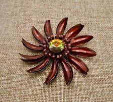 Vintage Copper Brown Enamel Metal Flower Pin Brooch Watermelon Rivoli Glass A443