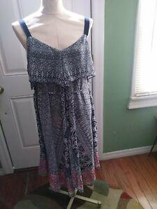 Jessica Simpson Maternity- A Line Floral Hankerchief Hem Floral Dress- Medium