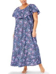 Womens PLUS size 18 20   30 32   38 40 42 DRESS blue/purple cotton short sleeve