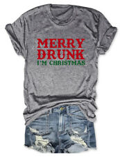 Merry Drunk I'm Christmas Graphic T-shirt Xmas Unisex Short Sleeve Crewneck Tee