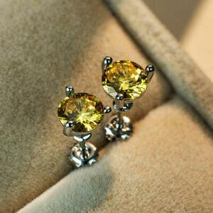 10 Colors Chic Ear Srud Earrings Women 925 Silver Jewelry Cubic Zircon A Pair