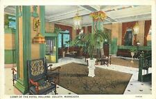 Duluth Minnesota~Colonial Chairs, Big Plants @ Hotel Holland Lobby~1920 Postcard