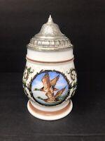 Vintage Original BMF Bierseidel Beer Stein Mug Lidded Milk Glass Duck Hunting
