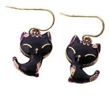 Boucles d'oreilles chat souriant noir