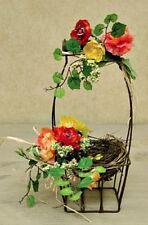 """New Spring Summer Tea Rose Bird Nest Basket Arrangement Twig Floral 10"""""""