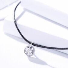 Halskette Choker Runder Anhänger echt Silber 925 Zirkonia Schwarz Halsband