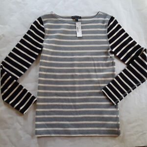 NWT Size S, J. Crew Ivory Gray Black Striped Long Sleeve Crew Neck Sweater Top