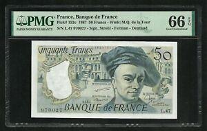 France : 50 Francs Quentin de la Tour 1987 ; PMG : Gem UNC 66 ; EPQ