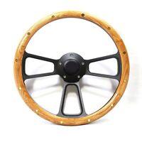 1967 - 1969 Ford Galaxie, LTD  Oak & Black Billet Steering Wheel Kit, Horn