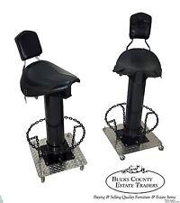 Unusual Pair of Custom Motorcycle Seat Bar Stools