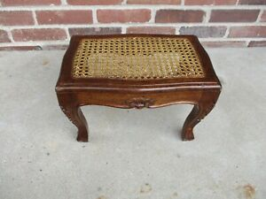 """Antique Carved Wood Footstool with Cane Rattan Top Lt Wear 14 x 9.5 x 9"""" tall"""