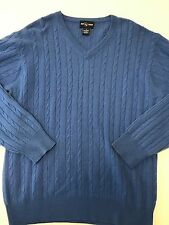 ALAN FLUSSER blue 100% CASHMERE cableknit V-Neck Sweater Men's M