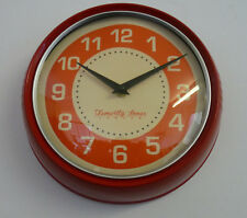 Temerity Jones Red Utility Home Kitchen Wall Clock Large Time Numbers Display