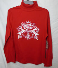 CHRISTMAS TURTLENECK * NEW Ladies XL (16-18) * red Cotton - stag - deer  NWT