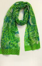 Lilly Pulitzer Boho Scarf Ariel Blue Roar Of The Jungle $128 New 630306546423