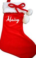 Luxury Personalised Christmas stocking Pom pom xmas stockings santa sack red kid