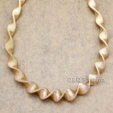 RUNWAY Gold Egypt Spiral Swirl 80s Multi Memory Fine Wire Choker Bib Necklace H9