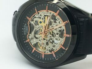 Rotary GS03630/04 Men's Black Strap Skeleton Watch 69395/AH