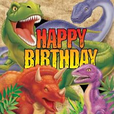 16 x DINO BLAST HAPPY BIRTHDAY NAPKINS 33cm 3ply DINOSAURS BOYS PARTY TABLEWARE