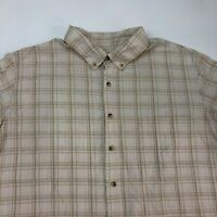 Boulder Creek Button Up Shirt Men's Size 2XL XXL Short Sleeve Tan White Plaid