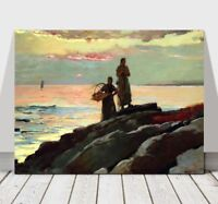 WINSLOW HOMER - Saco Bay - CANVAS ART PRINT POSTER - Sea Ocean Landscape 32x24""