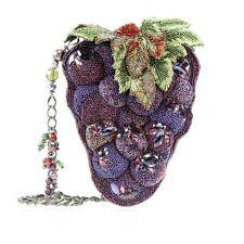 Mary Frances Handbag Merlot Purple Bunch Grapes WIne Beaded Jeweled Shoulder Bag