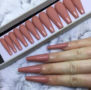 Blush Nude Gloss Press On False Extra Long Ballerina Nails Set