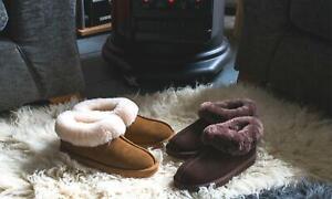 Redfoot Ann Ladies Womens Slip On Chocolate Tan Suede Sheepskin Bootie Slippers