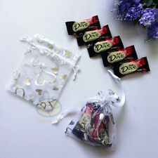 "Organza Pouches Jewelry Wedding Bag 100Pcs White w/ Silver Empty Heart4.75""x3.5"""