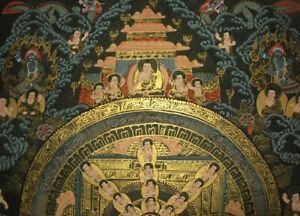SCHWARZGRUND THANGKA Mandala + Buddha Nepal FEIN + VIEL GOLD 37x28 cm
