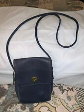 Vintage Coach 9893 Blue Leather Scooter Flap TurnLock Crossbody Shoulder Bag USA