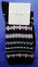 Falke Womens Cashmere Wool Socks UK 2.5-5 FestiveDesign Black Calf Length RRP£16
